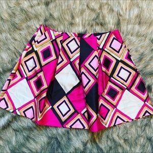 Lane Bryant Geometric Pattern Flare Skirt w/pleats